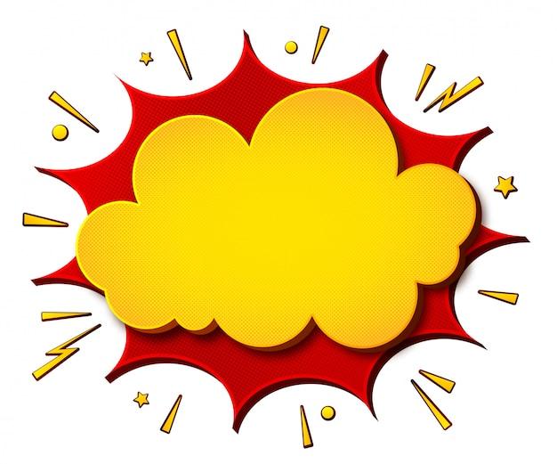 Bandeira amarelo-vermelha dos desenhos animados da banda desenhada e fundo branco. lança de bolhas do discurso Vetor Premium
