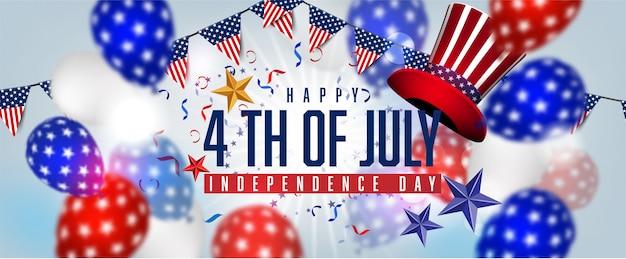 Bandeira americana balões decoração 04 de julho celebração dia da independência venda promoção banner compras on-line Vetor Premium
