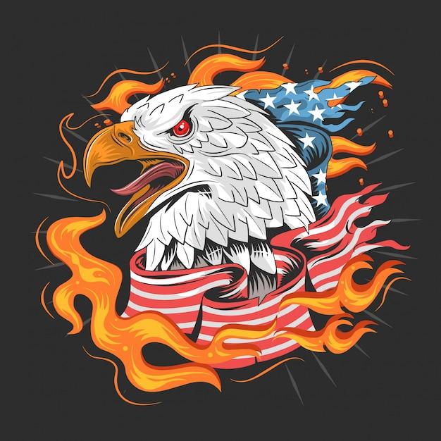 Bandeira americana de águia Vetor Premium