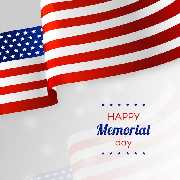 Bandeira americana realista feliz dia do memorial Vetor grátis