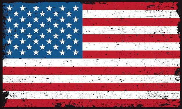 Bandeira americana suja velha Vetor Premium