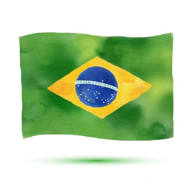 Bandeira aquarela do brasil Vetor grátis