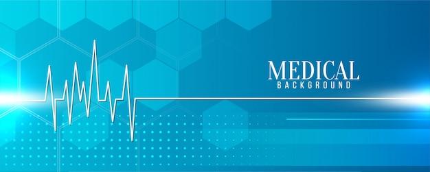Bandeira azul médica moderna com linha da vida Vetor grátis