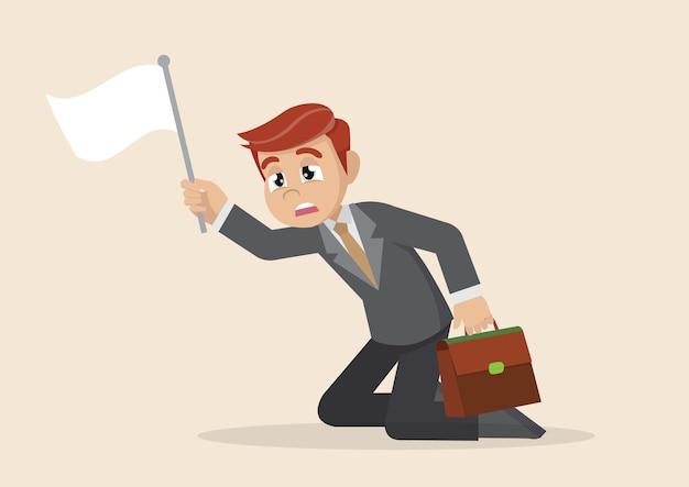 Bandeira branca de empresário de rendição. Vetor Premium