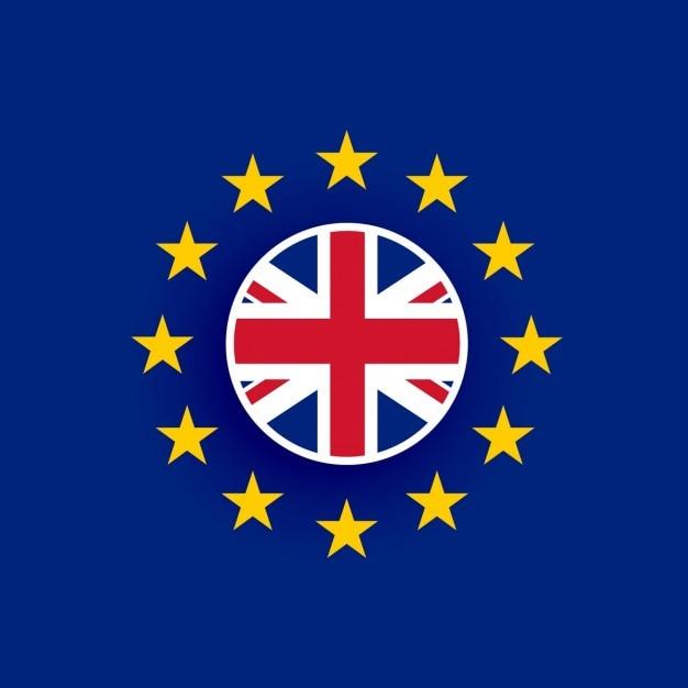 Bandeira britânica dentro da bandeira da união europeia Vetor grátis