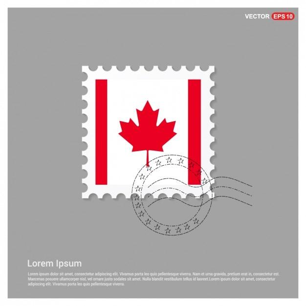 Bandeira canadense stamp template Vetor grátis