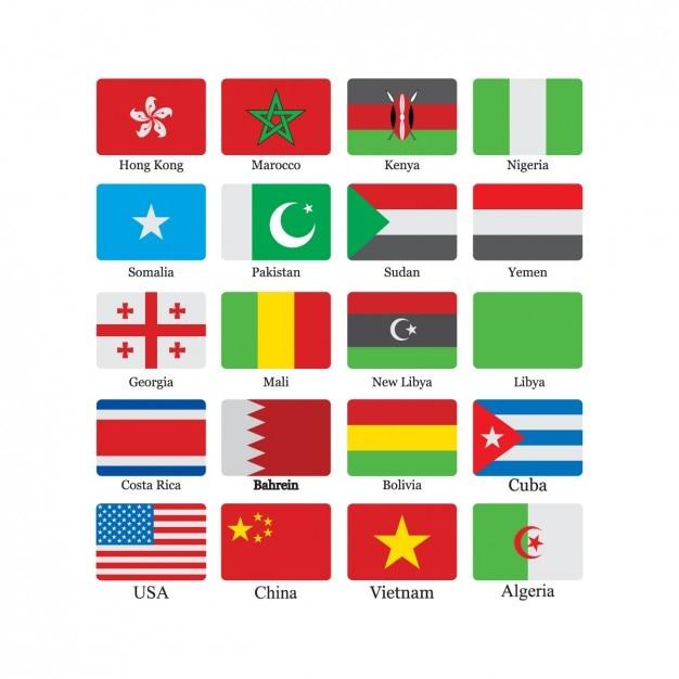 Bandeira coleção ícone Vetor grátis