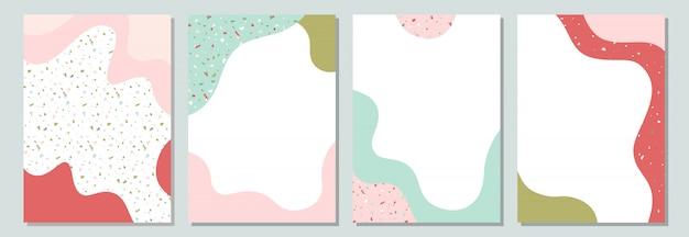 Bandeira colorida da mola com formas líquidas e textura do terraço. Vetor Premium