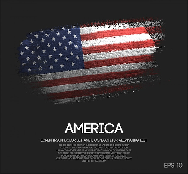Bandeira da américa feita de glitter sparkle brush paint vector Vetor Premium