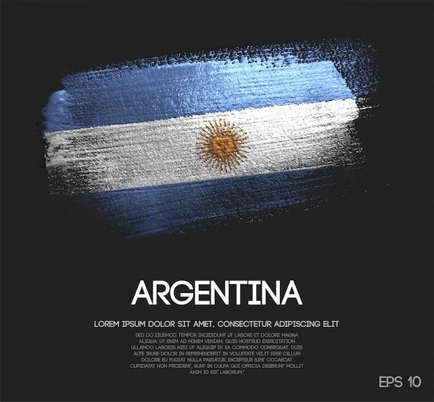 Bandeira da argentina, feita de glitter sparkle pincel tinta vector Vetor Premium