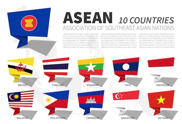 Bandeira da asean e associação no mapa do sudeste da ásia. bolhas de discurso Vetor Premium