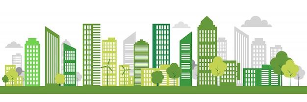 Bandeira da cidade verde eco Vetor Premium