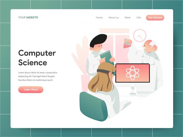 Bandeira da ciência da computação da página de destino concept Vetor Premium