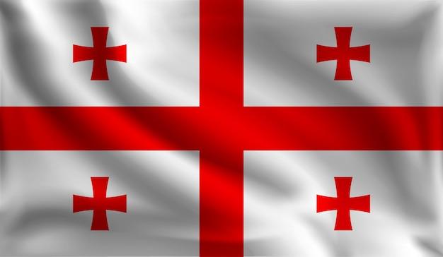 Bandeira da geórgia, bandeira da geórgia Vetor Premium