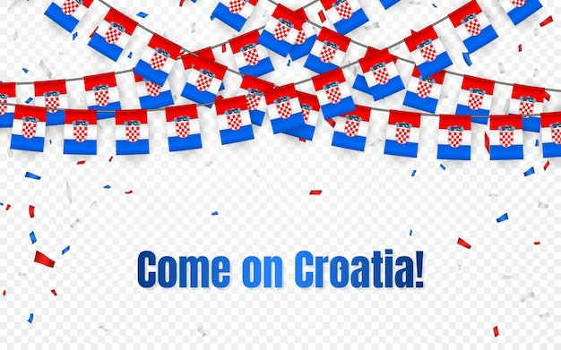 Bandeira da guirlanda da croácia com confete em fundo transparente, bandeira de modelo de celebração Vetor Premium