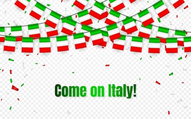 Bandeira da guirlanda da itália com confete em fundo transparente, pendurar bandeirolas para banner de modelo de celebração, vamos itália, Vetor Premium