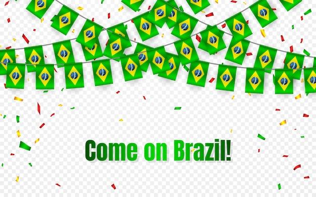 Bandeira da guirlanda do brasil com confete em fundo transparente, bandeira de modelo de celebração Vetor Premium