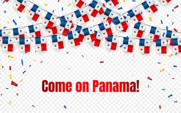 Bandeira da guirlanda do panamá com confete em fundo transparente, bandeira de modelo de celebração Vetor Premium