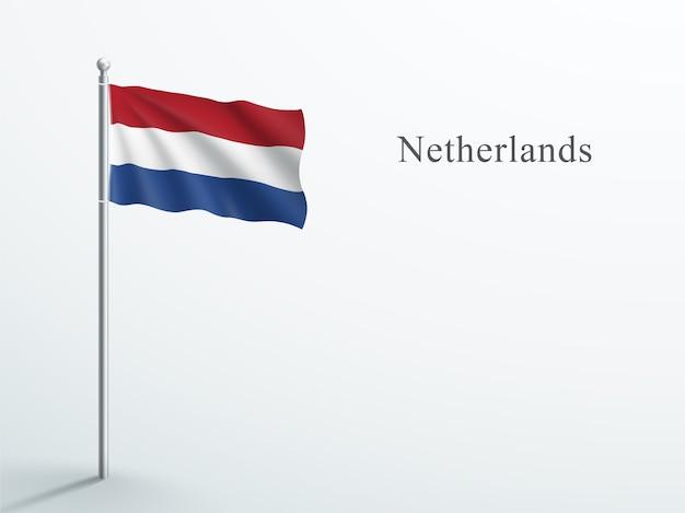 Bandeira da holanda elemento 3d acenando no mastro de aço Vetor Premium