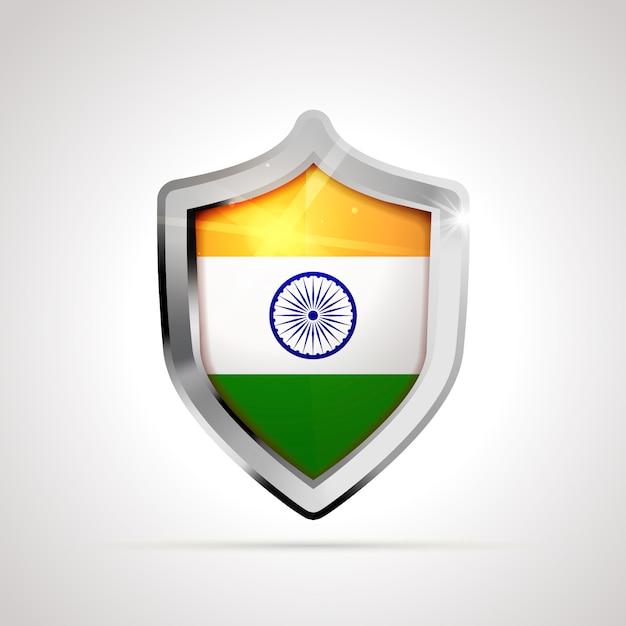 Bandeira da índia projetada como um escudo brilhante Vetor Premium