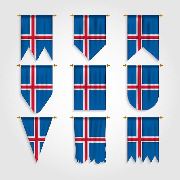 Bandeira da islândia com formas diferentes, bandeira da islândia em várias formas Vetor Premium