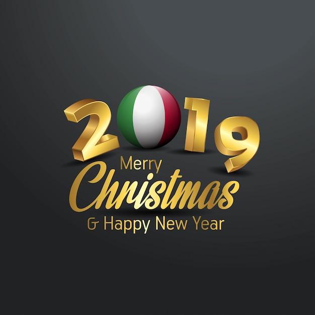 Bandeira da itália 2019 merry christmas tipografia Vetor Premium