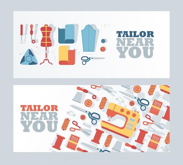 Bandeira da loja de alfaiate, ilustração. atelier de serviço de costura, estúdio de design de moda, reparação de roupas profissionais. Vetor Premium