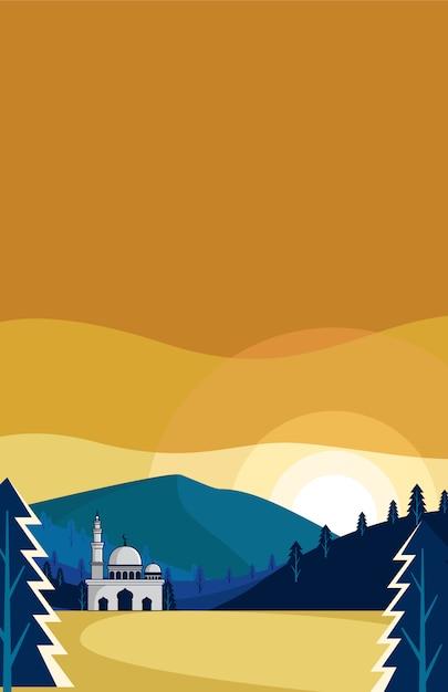 Bandeira da mesquita Vetor Premium