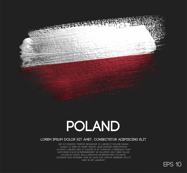 Bandeira da polónia, feita de glitter sparkle brush paint Vetor Premium