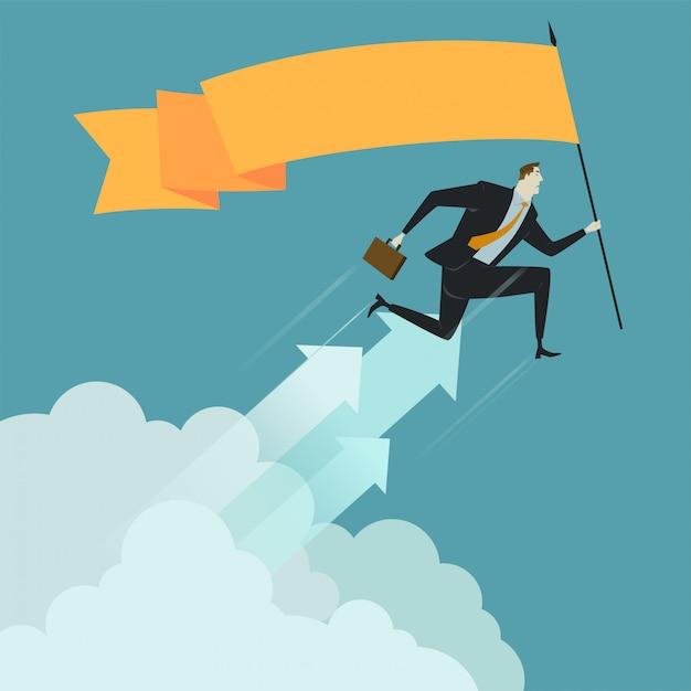 Bandeira da preensão do homem de negócios acima da nuvem. Vetor Premium