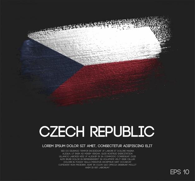 Bandeira da república checa feita da pintura da escova da faísca do brilho Vetor Premium