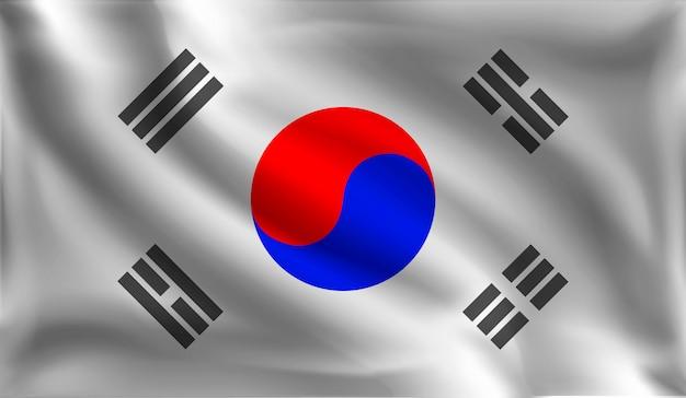 Bandeira da república da coreia, a bandeira da coréia Vetor Premium
