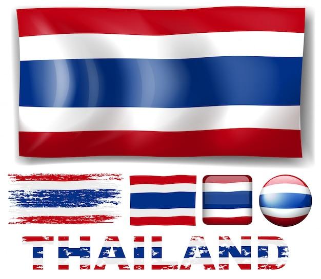 Bandeira da tailândia em diferentes modelos de ilustração Vetor grátis