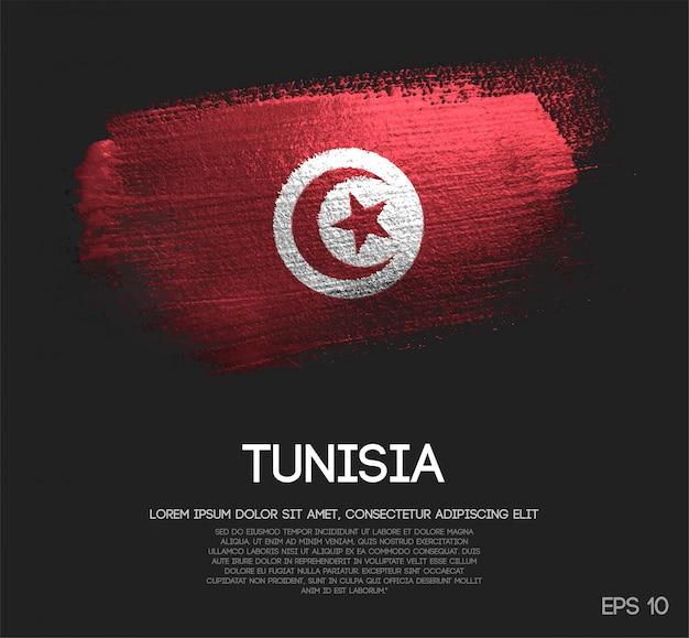 Bandeira da tunísia, feita de glitter sparkle brush paint Vetor Premium