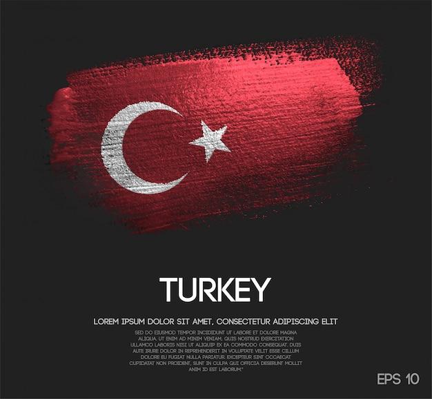 Bandeira da turquia feita de glitter sparkle brush paint Vetor Premium