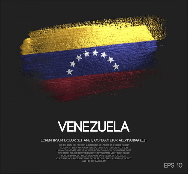 Bandeira da venezuela feita de glitter sparkle brush paint Vetor Premium