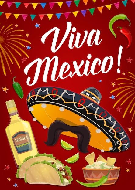 Bandeira da viva méxico com comida mexicana de férias, chapéu sombrero de festa da fiesta do cinco de mayo, pimenta e tequila, tacos, nachos e guacamole de abacate. cartão de felicitações ou design de cartaz de convite Vetor Premium