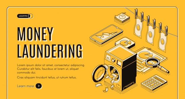 Bandeira da web de lavagem de dinheiro, página de destino. Vetor grátis