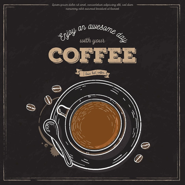 Bandeira da xícara de café vintage Vetor grátis