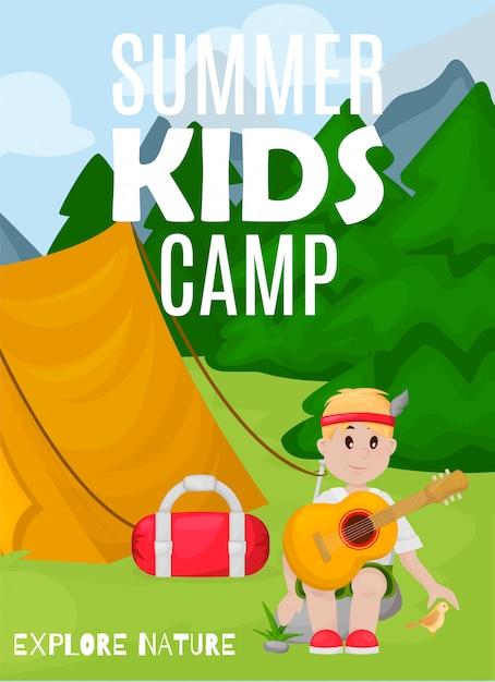 Bandeira de acampamento de crianças de verão Vetor Premium
