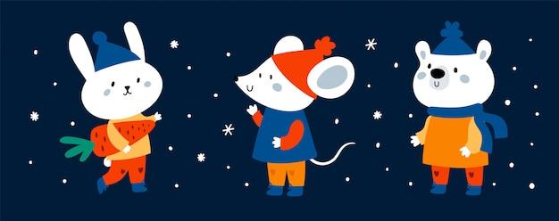 Bandeira de animais bonito dos desenhos animados engraçados Vetor Premium
