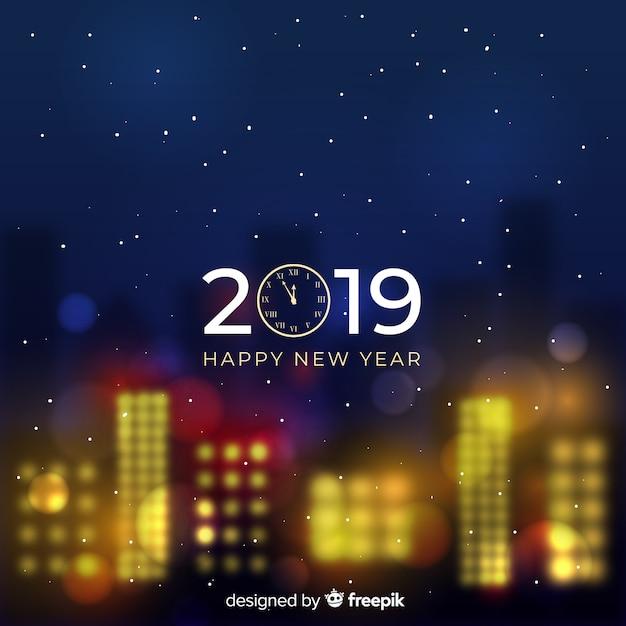 Bandeira de ano novo turva de 2019 Vetor grátis