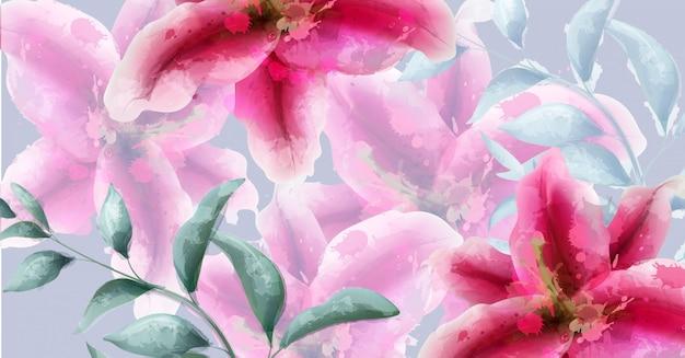 Bandeira de aquarela de flores de lírio Vetor Premium