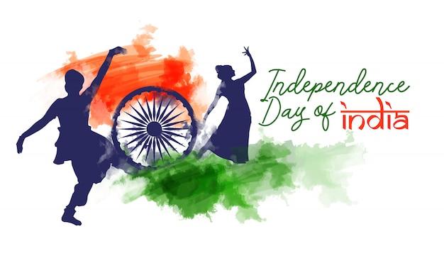 Bandeira de aquarela do dia da independência de india Vetor Premium