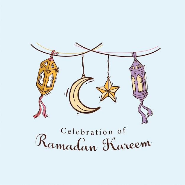 Bandeira de arte islâmica doodle para ramadan kareem Vetor Premium