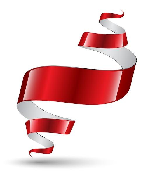 Bandeira de arte moderna de fita vermelha Vetor Premium
