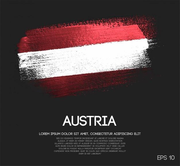 Bandeira de áustria feita de glitter sparkle escova paint vector Vetor Premium