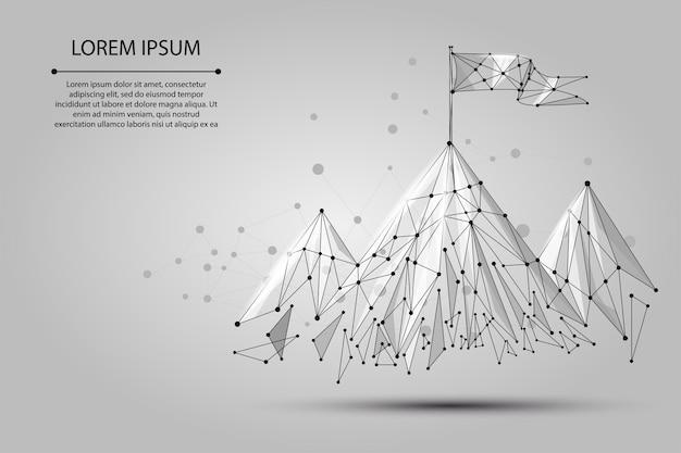 Bandeira de baixo poli wireframe no topo da montanha. sucesso nos negócios, top ou gol Vetor Premium