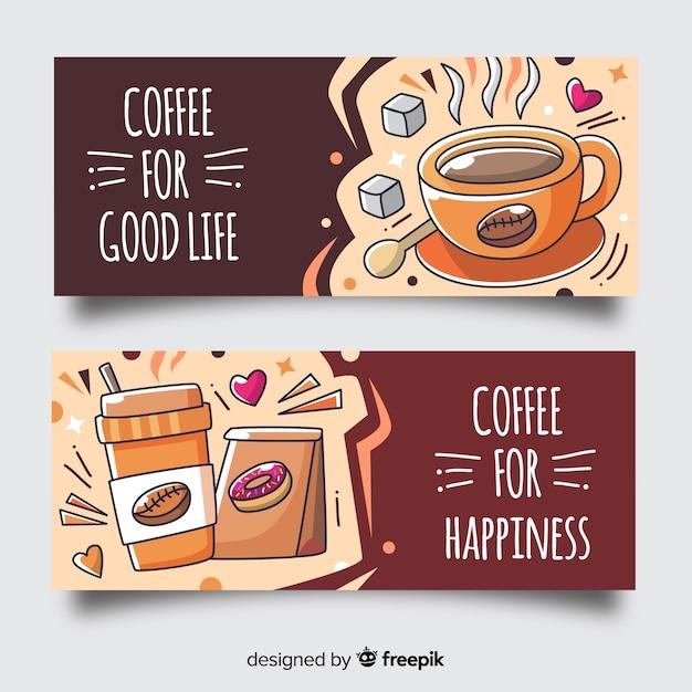 Bandeira de café desenhada de mão Vetor grátis