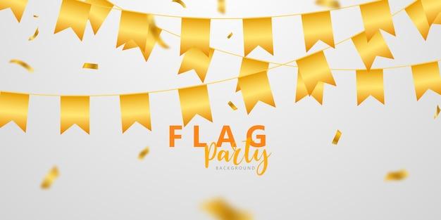 Bandeira de celebração confete e fitas com moldura dourada banner de festa Vetor Premium